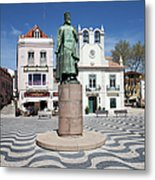 Municipal Square In Cascais Portugal Metal Print