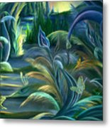 Mural  Insects Of Enchanted Stream Metal Print