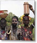 Mursi Tribesmen In Ethiopia Metal Print