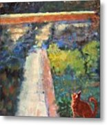Museum Cat Enters The Picture After Georges Seurat Metal Print