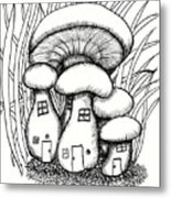 Mushroom Fairy Houses And Grass Metal Print