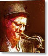 Music - Jazz Sax Player With A Hat Metal Print