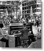 Music On The Boston Common Boston Ma Black And White Metal Print