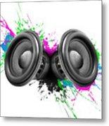 Music Speakers Colorful Design Metal Print