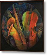 Musical Mandala - Features Cello And Sax's Metal Print