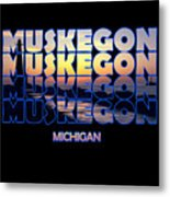 Muskegon Channel Sunset Metal Print