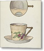 Mustache Cup And Saucer Metal Print