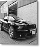 Mustang Alley In Black And White Metal Print