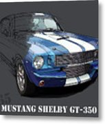 Mustang Shelby Gt-350, Blue And White Classic Car, Gift For Men Metal Print
