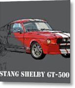 Mustang Shelby Gt500 Red, Handmade Drawing, Original Classic Car For Man Cave Decoration Metal Print
