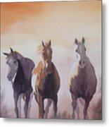 Mustangs Out Of The Fire Metal Print