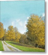 Mustard Yellow Trees And Landscape Metal Print