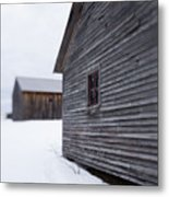 Musterfield Farm North Sutton Nh Old Buildings In The Snow Metal Print
