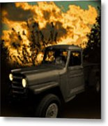 My 51 Willys Jeep Pickup Truck At Sunset Metal Print