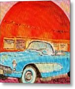 My Blue Corvette at the Orange Julep Metal Print