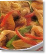 My Green And Red Bell Pepper With Chicken Metal Print