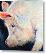 My Pink Pig  For A Lucky Day By M Baldwin Metal Print