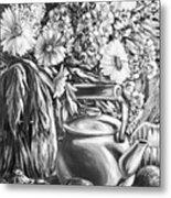 My Tea Kettle Black And White Metal Print