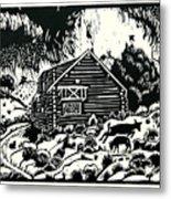 My Wyoming Cabin In Winter Metal Print