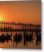 Myanmar. Taungthaman Lake. U Bein Bridge. Sunset. Metal Print