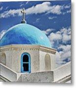 Mykonos Blue Church Dome Metal Print