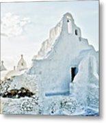 Mykonos Church In White Metal Print