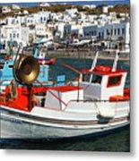 Mykonos Greece Fishing Boats Metal Print
