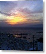 Mykonos Sunset Greece Metal Print