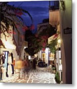 Mykonos Town At Night Metal Print