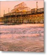 Myrtle Beach Apache Pier At Sunset Panorama Metal Print