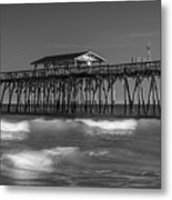 Myrtle Beach Pier Panorama In Black And White Metal Print