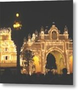 Mysore Palace Main Gate Temple Gloriously Lit At Night Metal Print