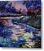 Mysterious Blue Pond Metal Print