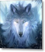 Mysterious Wolf Hand Painted Metal Print