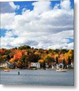 Mystic River In Autumn Metal Print