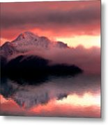 Mystic Sunset With Mountain Reflection And Lake Metal Print