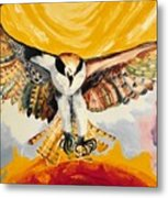 Mythical Eagle Perching Oil Painting Metal Print