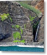 Na Pali Waterfall Metal Print