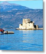 Naflion Greece Harbor Fortress Metal Print