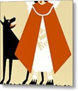Naive Art Deco Little Red Riding Hood Metal Print