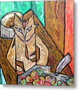 Naive Cat With Apples Metal Print