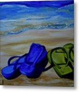 Naked Feet On The Beach Metal Print by Patti Schermerhorn