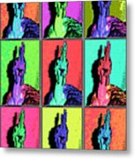 Naked Neck Rooster Warhol Style Metal Print