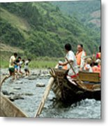 Naked Tracker Boatman Pulling Tourists Metal Print
