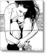 Naked Woman Comic Illustration Metal Print