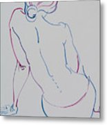 Naked Woman Sitting With Bare Back Metal Print