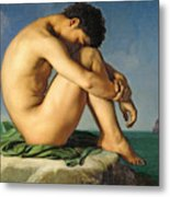 Naked Young Man Sitting By The Sea, 1836 Metal Print