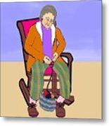 Nana Knitting Metal Print