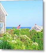 Nantucket Cottages Overlooking The Sea Metal Print