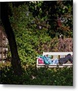 Nap On A Park Bench Metal Print